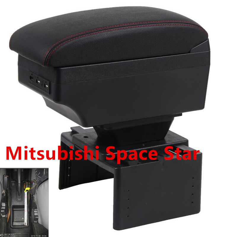 Para Mitsubishi Espacio Estrella reposabrazos caja de carga USB aumentar doble capa