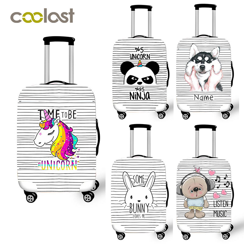 Cartoon Panda Dog Print Suitcase Protective Covers Cute Unicorn Trolley Case Bag Luggage Cover For Girls Boys Travel Accessories