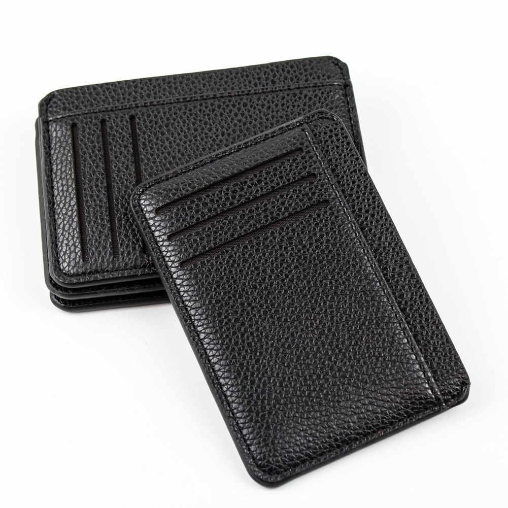Portatarjetas para hombre de piel sintética con 6 ranuras para tarjetas, cartera ultrafina con patrón de lichi, funda moderna y duradera con tarjetero