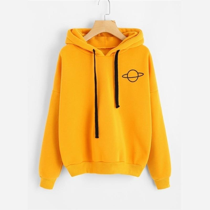 Oversized Women Hoodies Casual Planet Print Women's Sweatshirt Drawstring Hooded Tops Loose Solid Long Sleeve Female Pullovers