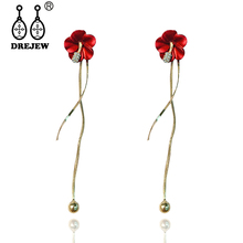 DREJEW Pink Yellow White Red Green Flower Statement Earrings 925 Gold Silver Drop Sets for Women Wedding Jewelry HE5911