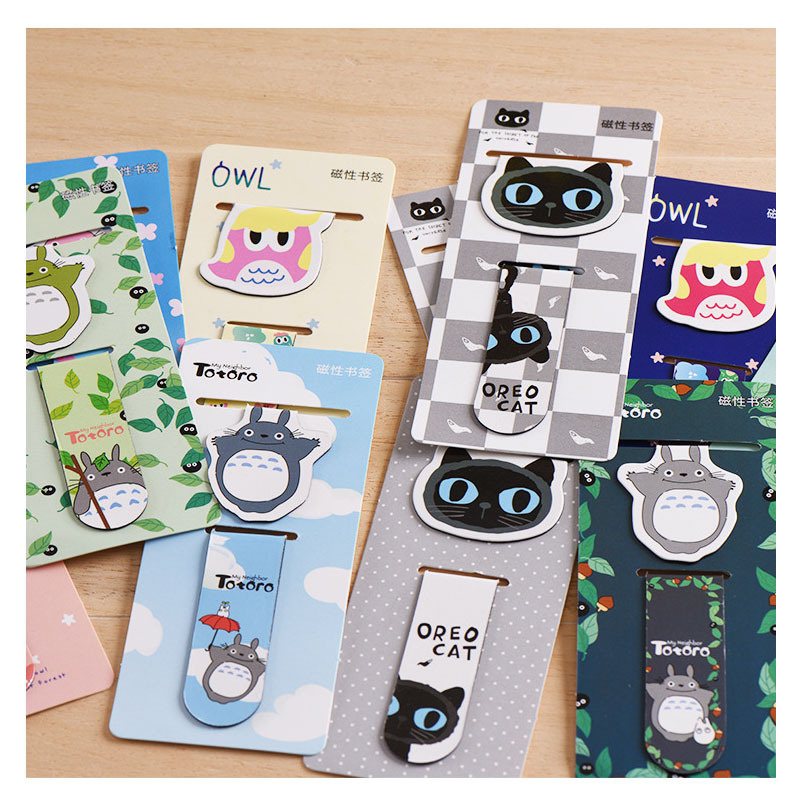2 Pcs/pack Totoro Magnet Bookmark For Book Cartoon Paper Clip School Office Supply Escolar Papelaria Gift Stationery