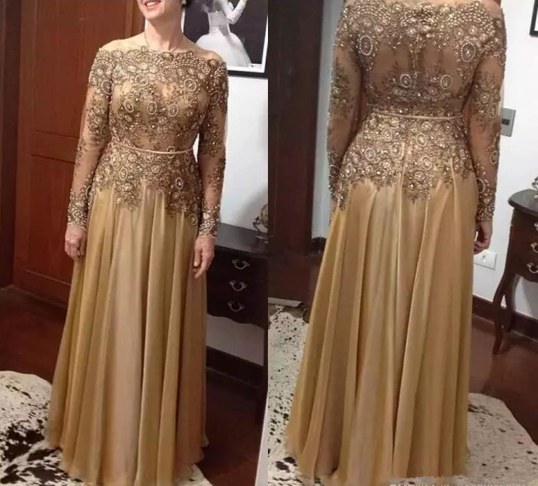 Elegant Gold Lace Bead Mother Of The Bride Dresses Vestido De Madrinha Chiffon Floor-length Mother's Dress Formal Evening Gown