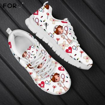 FORUDESIGNS Nursing Shoes for Women Cartoon Nurse Pattern Woman's Flats Shoes Breath Lace Up Sneakers Casual  White Ladies Shoe instantarts summer sneakers nurse flats shoes 3d cartoon nursing print women casual lace up mesh walk sneakers zapatillas mujer