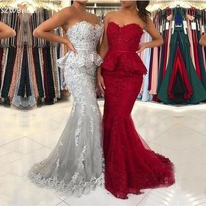 Image 2 - New Arrival bordowy syrenka suknia 2020 koronkowe aplikacje Party dress suknie wieczorowe Vestidos elegantes Robe femme