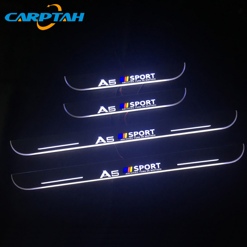 CARPTAH Car Exterior Parts LED Door Sill Scuff Plate Pedal Pathway Dynamic Streamer light For Audi A5 S5 RS5 Sedan 2012 - 2015