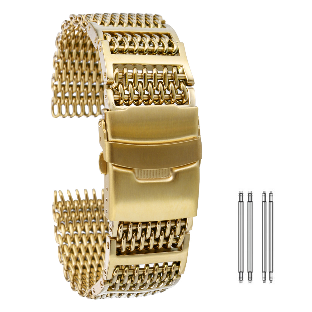 High Quality Stainless Steel <font><b>Watch</b></font> <font><b>Band</b></font> <font><b>20mm</b></font> 22mm 24mm Mesh Wrist Strap Gold/Rose Gold/Blue Men <font><b>Women</b></font> Bracelet <font><b>Watch</b></font> Accessories image