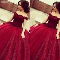 Girls Sweet 16 Prom Quinceanera Dresses Shiny Sequins Appliques Long Puffy Ball Gown Off Shoulder Burgundy Tulle Vestido 15 Anos