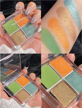 Неоновый зеленый 4 цвета мерцающие матовые тени для век Палитра