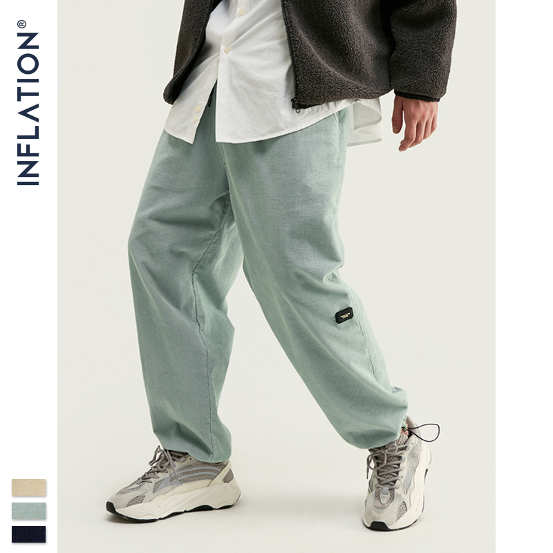 INFLATION Design Mens Winter Corduroy Jogger Pants Pure Color Loose Overalls Men Jogger Corduroy Pants Elastic Waist 93345W