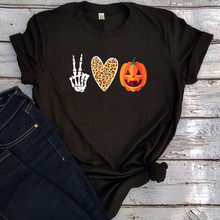 Peace Love Pumpkin Shirt 2020 Halloween Graphic Tee Woman Leopard Heart Kawaii Clothes Pumpkin Vintage Clothes Graphic(China)
