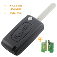 Kutery  10pcs 2 Buttons Remote Car Key ASK 434MHz ID46 Chip For Peugeot 207 307 308 407 807 For Citroen With VA2 Blade CE0536