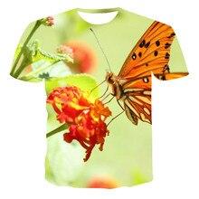 Diseño mariposa de moda de verano, camiseta 3D de cuello redondo, estilo chino, simple y generoso