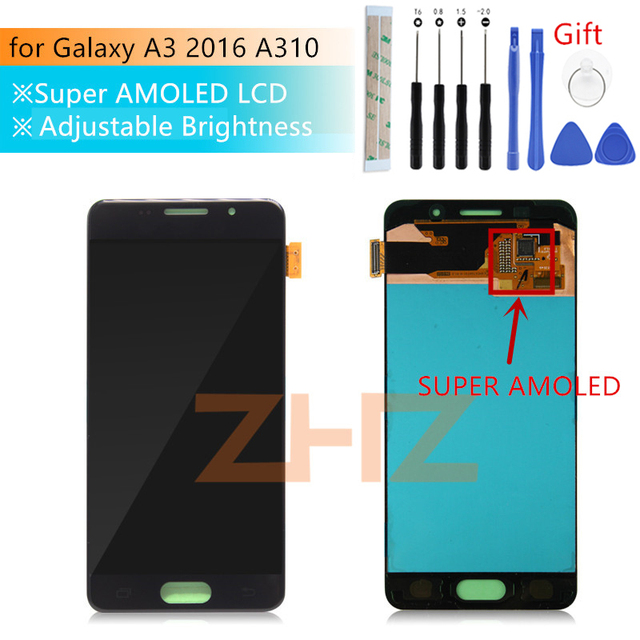 Super AMOLED For Samsung Galaxy A3 2016 lcd a310 SM A310F lcd Display Touch Screen Digitizer Assembly a310f screen repair parts