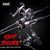 Kingdom Casting Spinning Winter Fishing Reel&Line&Lure&Rod Combo 2 Sections Feeder UL/M/ML/MH 1.85/2.05/2.2 /2.29m For Pike