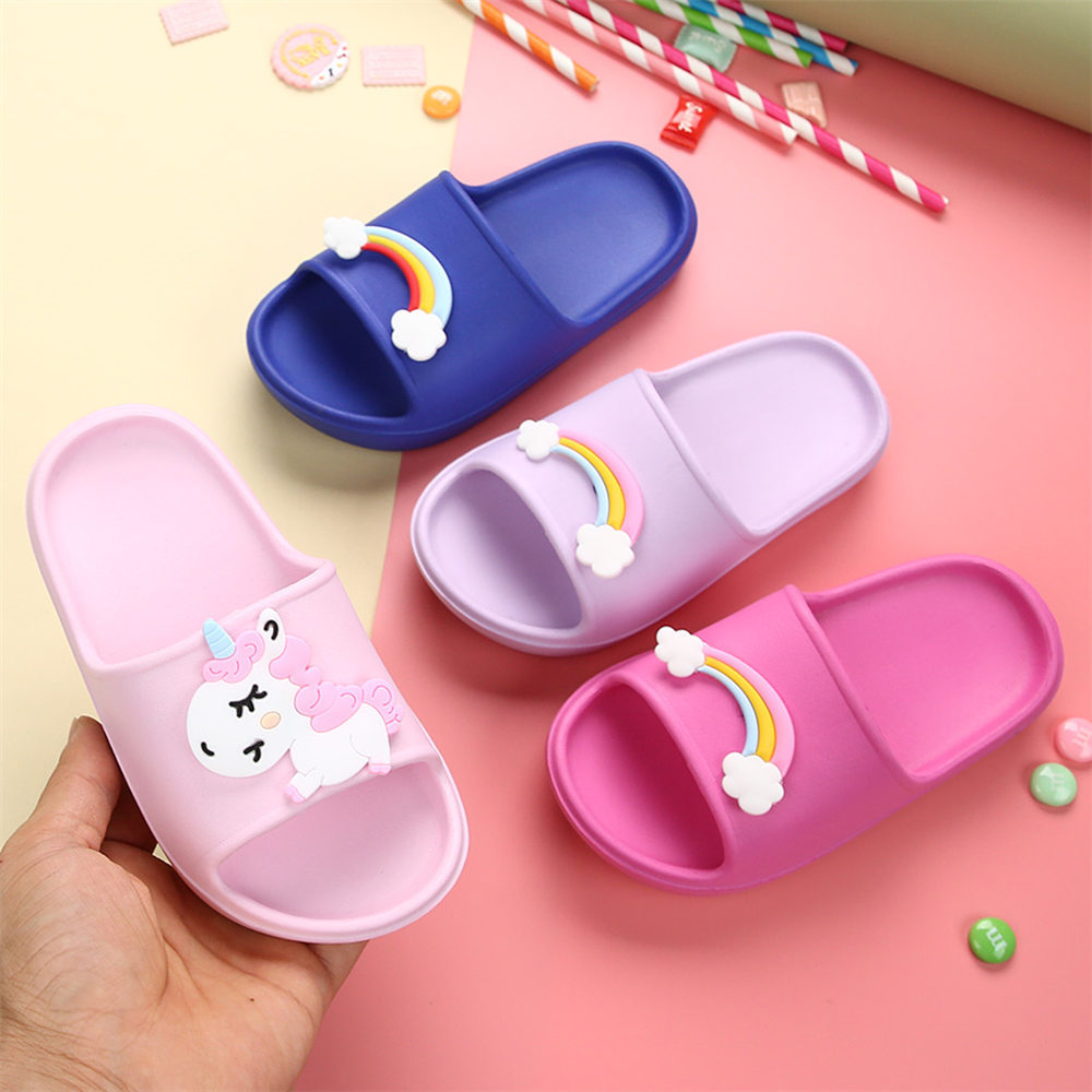 Summer Rainbow Unicorn Girls Slippers Casual Boys Beach Sandals Kids Shoes Outdoor PVC Cartoon Home Bathroom Children Flip Flops