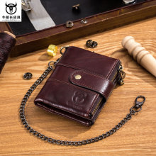 BULL CAPTAIN Brand Genuine Leather Metal Chain RFID Pocket Wallet Men Hasp Zipper Wallets Cardholder Coin Bag Men's Dollar Purse