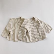 Spring 2021 New Boys Girls Cotton Linen Long Sleeve Shirts Korean style Clothing Toddler Kids Casual Loose Shirts Coat