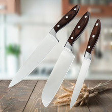 3PCS Kitchen Knife Set Chef Santoku 7Cr17Mov Stainless Steel Utility Knives Sets