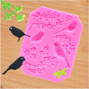 Little bird magpie rose flower moon cake cake fondant silicone mold dry pais clay plum shape chocolate decoration ice cube mold