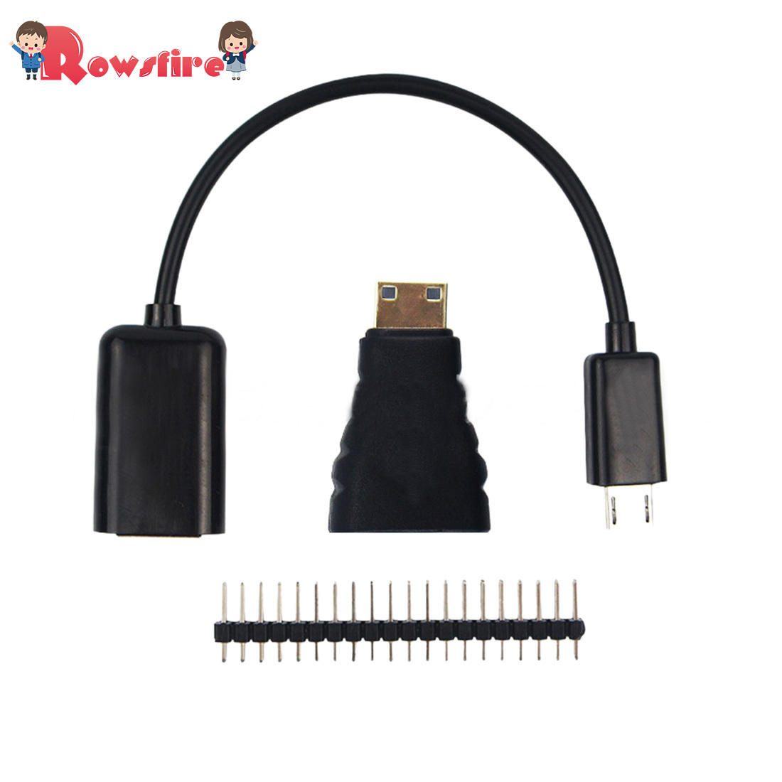 Set With Mico USB To OTG Cable/Hdmi Female To Mini Dhmi Male Adaptor/40P Pin Header For Raspberry Pi Zero