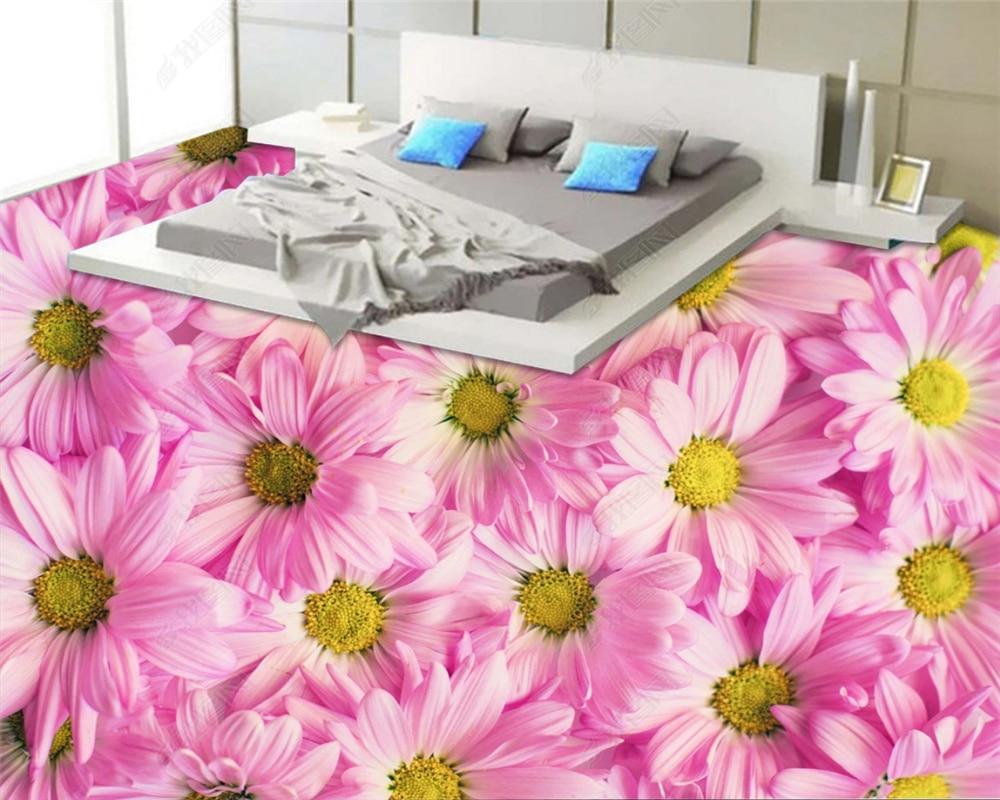 beibehang papel de parede wall paper High quality fashion PVC wallpaper beautiful wild chrysanthemum plants flowers 3d flooring