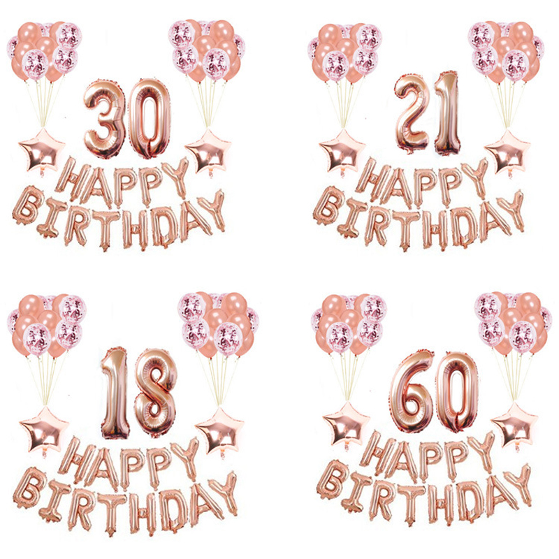 37pcs Happy <font><b>Birthday</b></font> Balloons Rose Gold Number Ballons Balloons <font><b>18th</b></font> <font><b>Birthday</b></font> Party <font><b>Decorations</b></font> Kids Adult 18 <font><b>Birthday</b></font> Baloes image