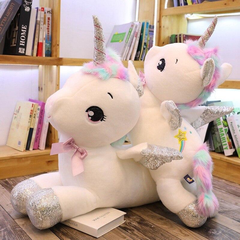 Sıcak 30cm-80cm beyaz gökkuşağı ünikorn peluş oyuncak yumuşak doldurulmuş hayvan at kanatları bebek büyük boy çocuk severler doğum günü hediyesi