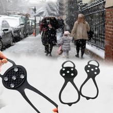5 zęby Ice Gripper na buty kobiety mężczyźni raki Ice Gripper Spike Grips knagi na śnieg szpilki antypoślizgowe wspinaczka piesze wycieczki okładki tanie tanio CN (pochodzenie) Buty Kolce Spring2019 1 pair Black Silicone Climbing Non-Slip Shoe Grip ice snow grips Rubber+Mental