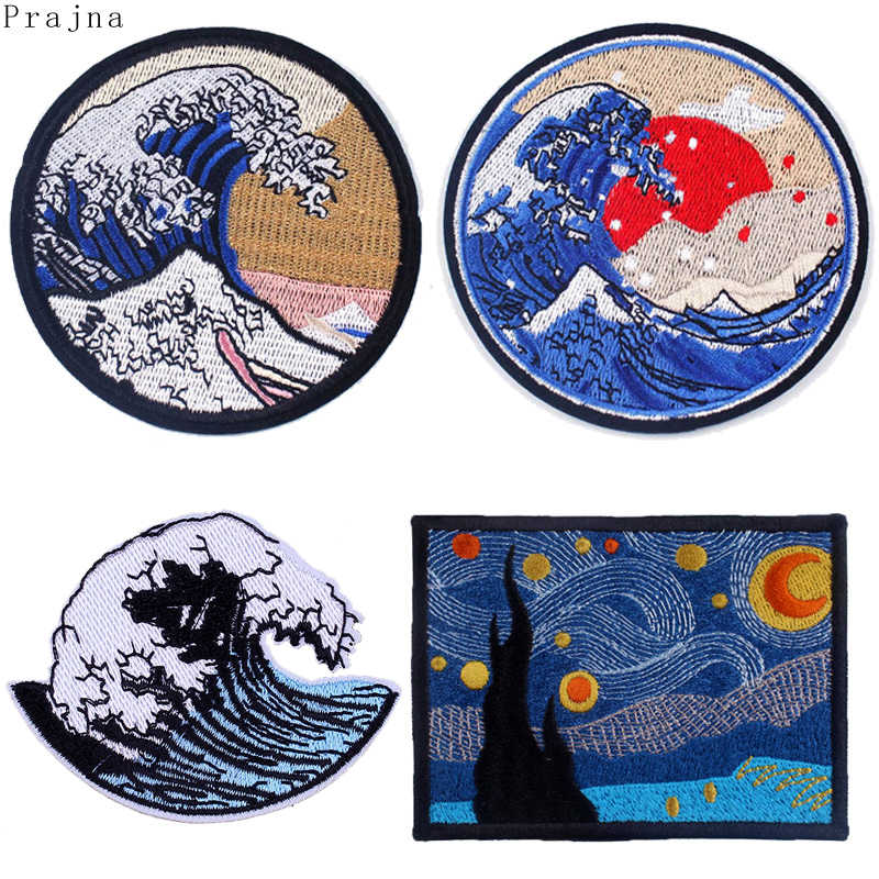 Prajna Picture Hippie Patch kanagawa Wave Iron On Embroidered Patches For Clothes Stripe Van Gogh Stranger Things Patch Applique