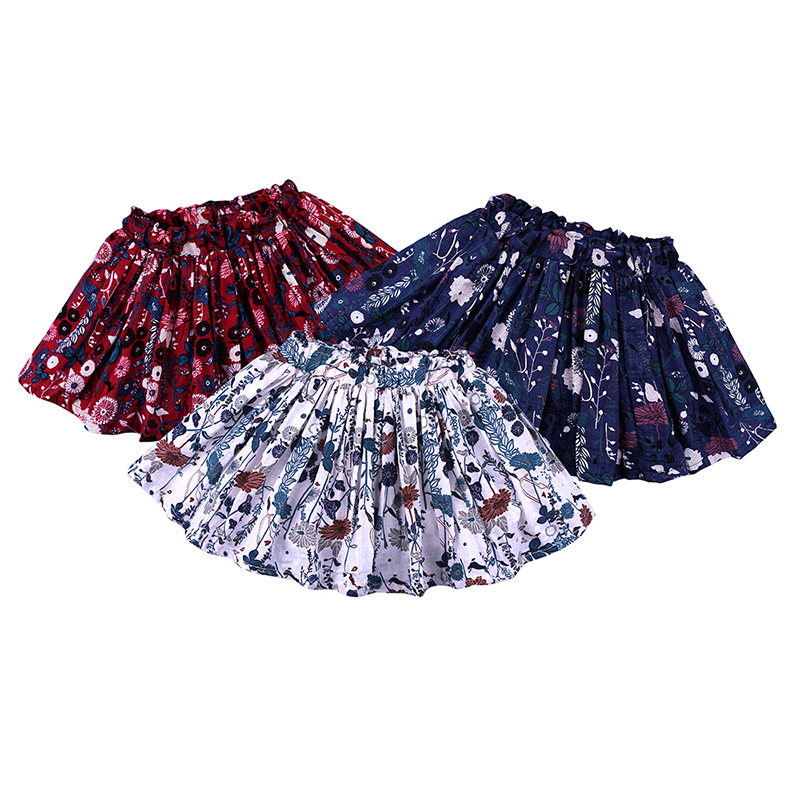 Baby Girls Skirt Spring And Summer Toddler Children Floral Beach Skirts Cotton Pleated Skirt Kids Clothes