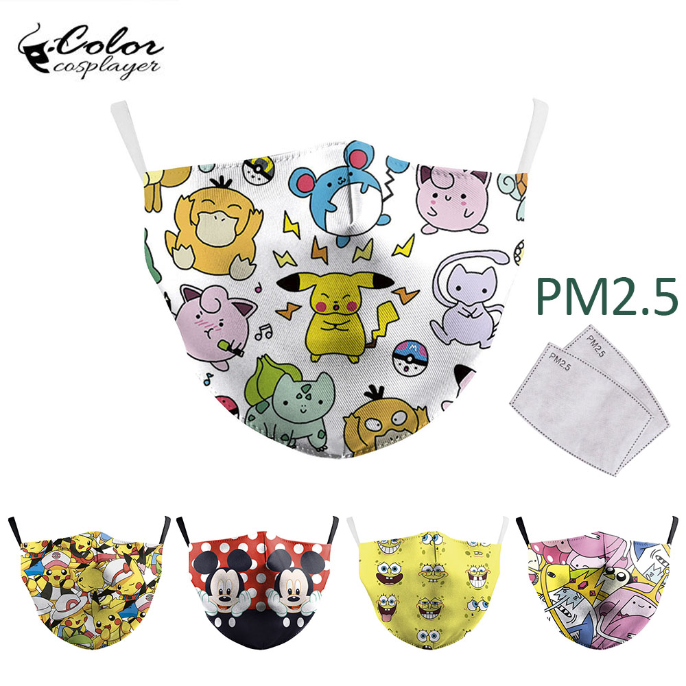 Color Cosplayer Adventure Time Print Face Masks Cartoon Fabric Mask Protective PM2.5 Reusable Adult Mask Washable Mouth-Muffle