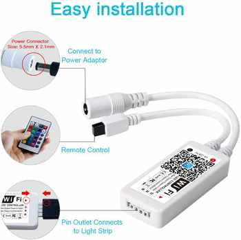 WIFI RGB Controller Music Magic Home Bluetooth Wireless WiFi Controller DC 5V RGBW 24key IR Remote Control 5050 2835 Strip Light