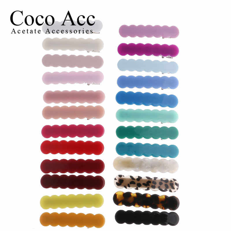 Japan koreanische neue design acryl colid candy farbe Scallop shell bar geformt welle einfache haar side clips griffe barrettes kinder baby