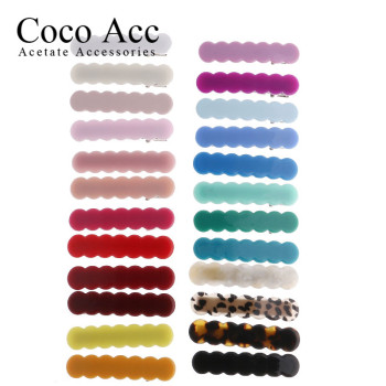 japan korean new design acrylic colid candy color Scallop shell bar shaped wave simple hair side clips grips barrettes kids baby