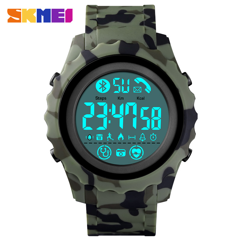 2020 SKMEI Men Bluetooth Sports Digital Watches Heart Rate Monitor Call Remind Calorie Waterproof Wristwatch reloj hombre Clock