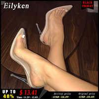 Eilyken clair PVC Transparent pompes sandales Perspex talon aiguille talons hauts pointe orteils femmes parti chaussures discothèque pompe 35-42
