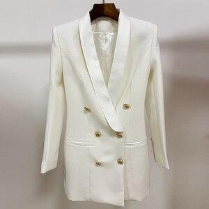 Image 3 - Alta qualidade mais novo 2020 designer elegante blazer feminino metal leão botões xale colarinho longo blazer jaqueta
