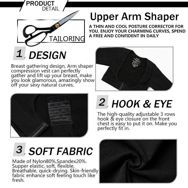 Image 5 - Miss Moly Womens Shapewear Tops Upper Arm Shaper Compression Sleeve Crop Slimming Underwear Humpback Posture CorrectorTops   -
