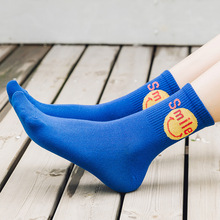 Smiling Face Embroidery Woman Socks Cotton Midi Breathable Korean Style Women Autumn Winter Female Sock