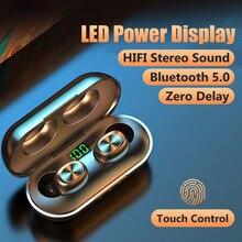 KNUPATH Bluetooth 5.0 אוזניות עם מיקרופון מגע שליטה אלחוטי אוזניות 9D HIFI בס סטריאו אוזניות;