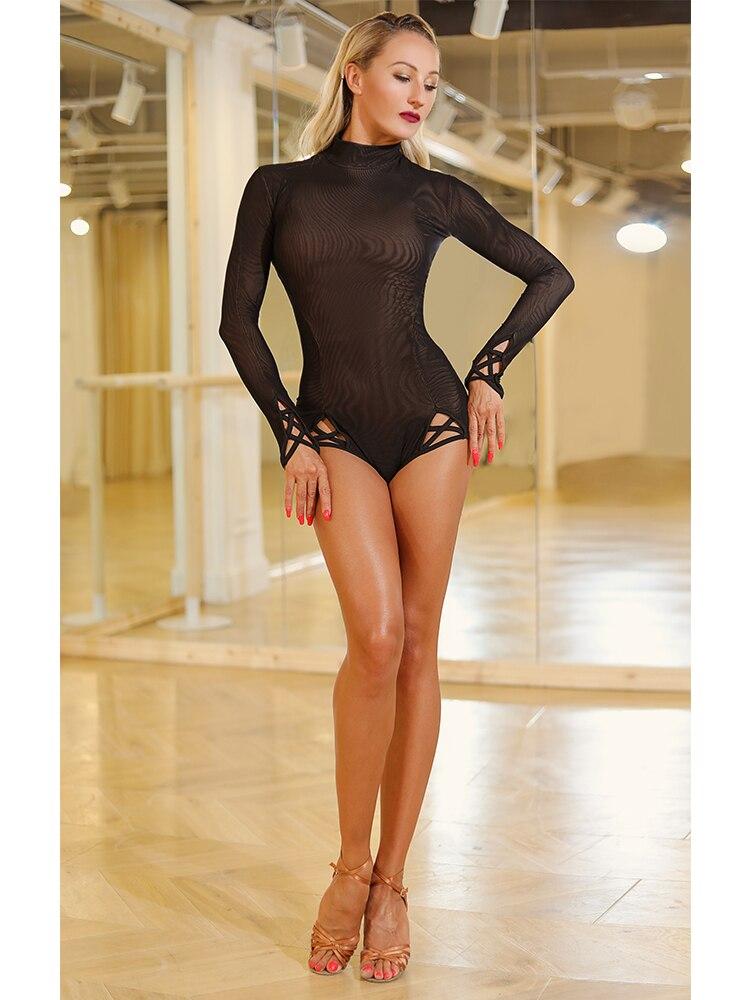 ZYMdancestyle Brownie Body Top #1987 Women Latin Dance Practice Wear Mesh Slim Hign Neck Long Sleeve Nude Base With Double