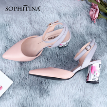 SOPHITINA New Women's Pumps High Quality Sheepskin Fashion Printing Flower Square Heel