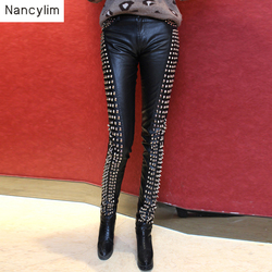 Heavy Studded Metal Rivets Black Leather Pants Women Slim Night Club Pants Lady Leather Pencil Pants Handsome Trousers