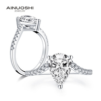 AINUOSHI Trendy 925 Sterling Silver 2.0 CT Pear Cut Ring Engagement Simulated Diamond Wedding Silver 7x10mm Rings Jewelry Gifts