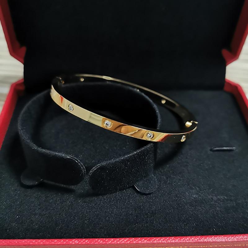 Love bangles women's screw bracelets no&4&10 stones 3.65mm Rose Gold bangles Stainless steel Fashion Jewelry no box|Bangles| - AliExpress