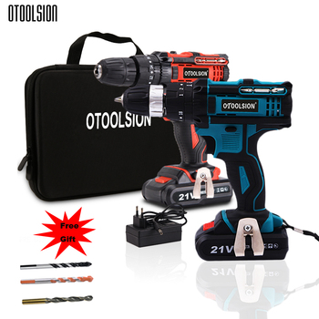 21V 1500mah Impact Drill Screwdriver Wireless Screwdriver Cordless Tools Hammer Drill Electric Battery Impact Screwdriver+ Bits фото