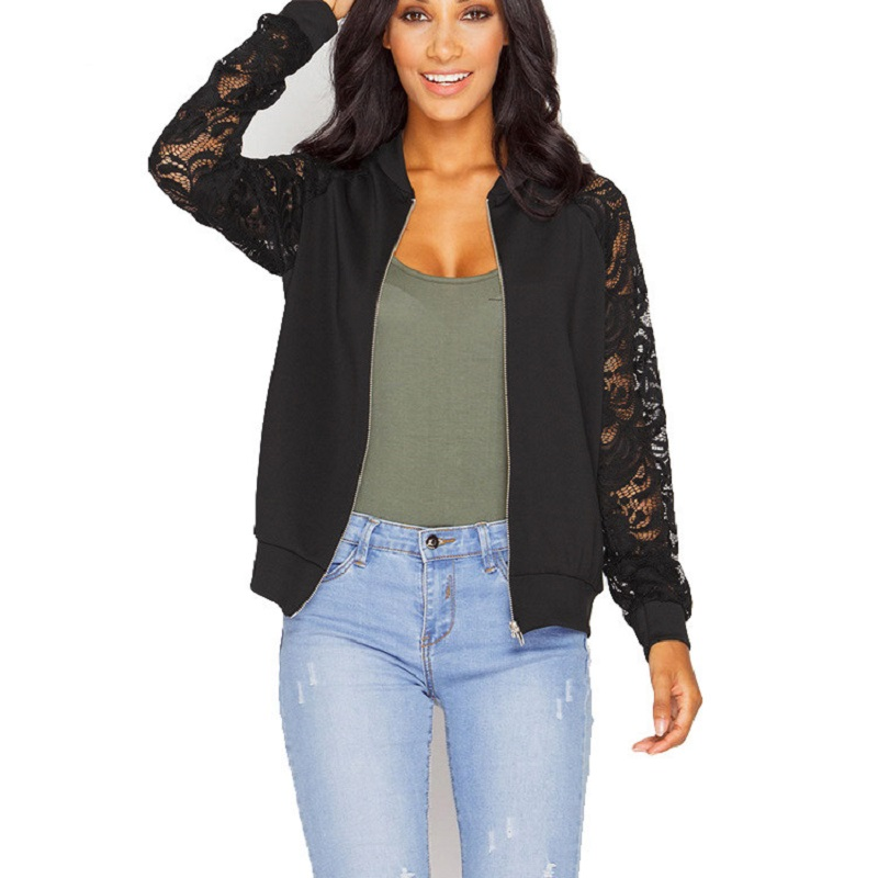 Lace Sleeve Slim Women Basic Coats Long Sleeve Lace Patchwork Transparent Zipper Casual Jacket Coat Bomber Jacket Outwear