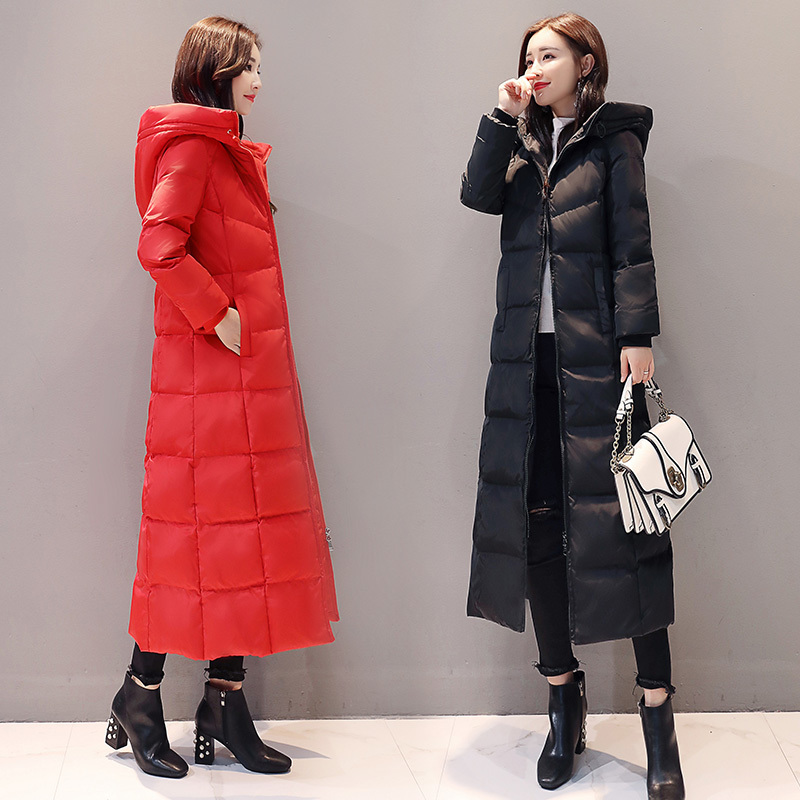 Winter Duck Down Jacket Woman Hooded Red Long Coat Plus Size Down Coats Women Parkas Chaquetas Invierno Mujer KJ470