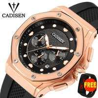 CADISEN-reloj deportivo para hombre, cronógrafo de silicona, correa de cuarzo militar, Masculino